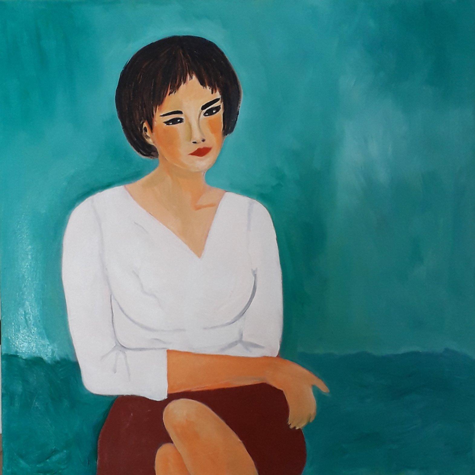 Mujer sobre fondo verde (2020) - Julia Ledo García - JLedo