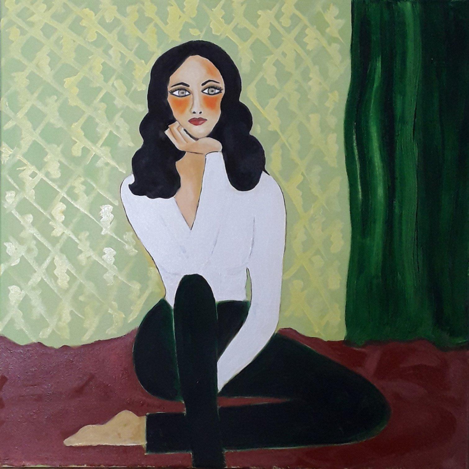 Mujer sobre pared pintada (2021) - Julia Ledo García - JLedo