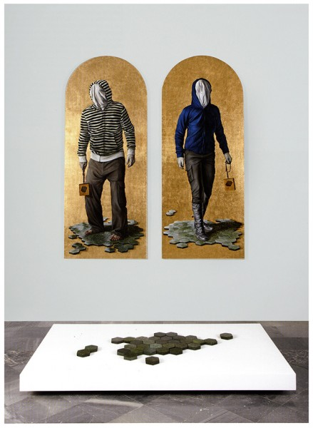 Jesus Herrera POETS AND TRAITORS diptych[2] 76,77x31,89 in | Oil on linen/gold leaf |