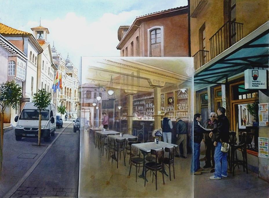 Calle Ayuntamiento (café Bar Pinin, Llanes) (2014) - Vicente Sobero García