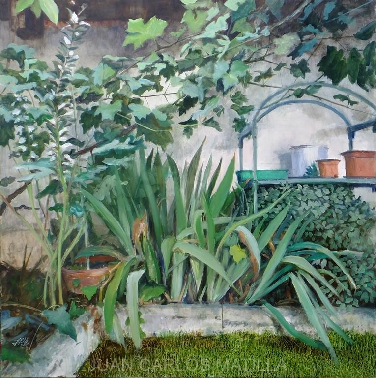 En mi jardín 2016-1 Oleo/madera 100 x 100 cm.