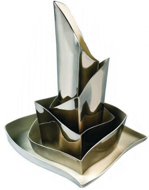 """""""Bilbao"""" porcelana yplatinoinspirado al museo Gugghenheim de Bilbao, 5 piezas de uso y exposición"""