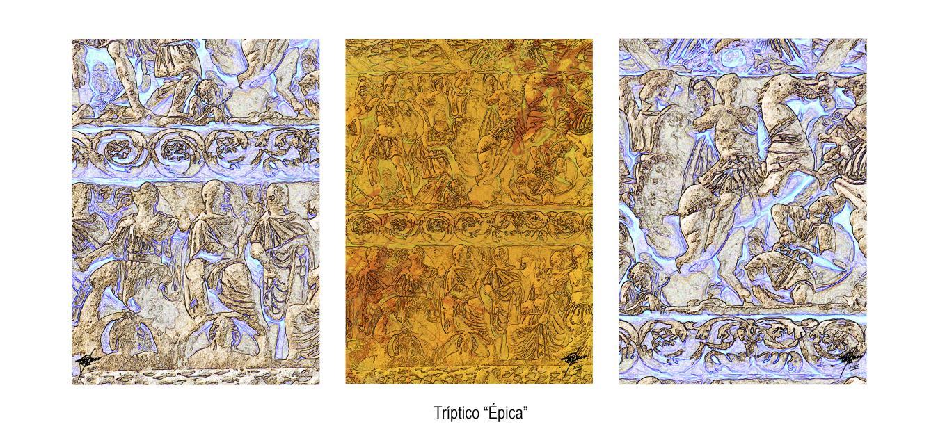 Épica (tríptico) 70 x 50 cm c/u (2020) - Osvaldo Russo Salles - Digital y con Arte