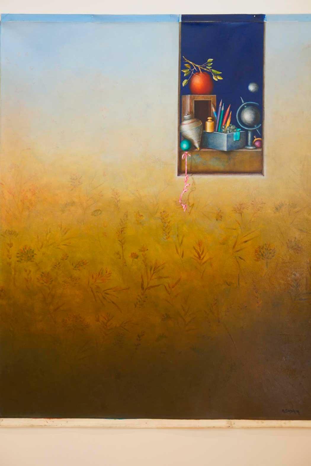 ventana con paisaje y objetos