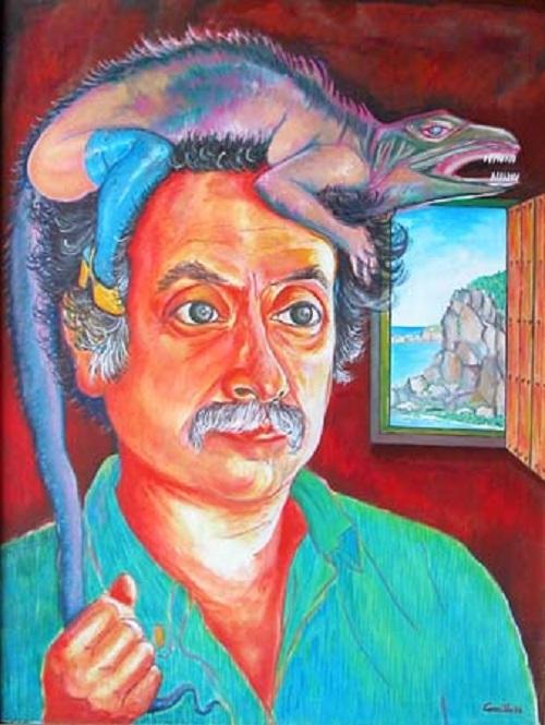 AUTORRETRATO CON IGUANA (1986) - José Carrillo Cedillo