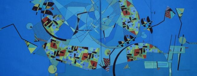 Composición X-2010. Acrilico s-tela. 220x560cm