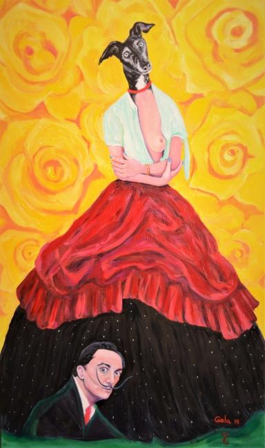 Gala y Dalí bajo su falda.