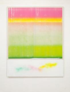 Un été andalou, 2017, acrylic, paper collage and spray on canvas, 64 x 51 in