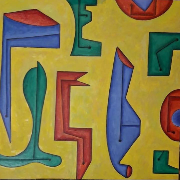 COMPOSICIÓN SOBRE AMARILLO, 100x100 cm. óleo sobre tela, 2019 (2019) - Daniel Jorge Castro Cuccuini