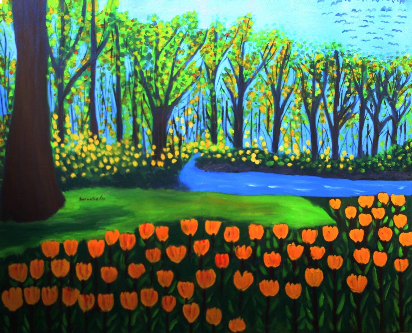Bosque con flores