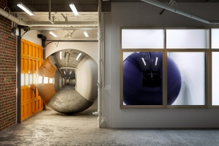 """""""Two spheres installed at Day & Night projects, from February 17th through March 12th, 2017"""", 2017"""