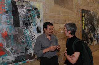 """Xavier Grau y Charo Pradas en la exposición """"Celebración de la pintura"""" en el Monasterio de Veruela en 2008. Cortesía de la Galería Miguel Marcos, de Barcelona"""