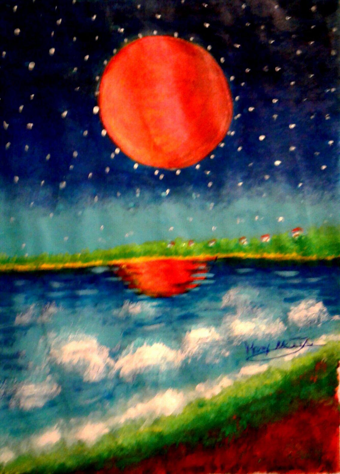 La Luna Roja reflejada en el mar (2019) - Christian Mery Netto Da Costa