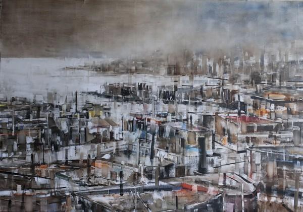 """Sin Título de la serie \""""Confín\"""". 2015. Óleo sobre lienzo, 163x232cm."""
