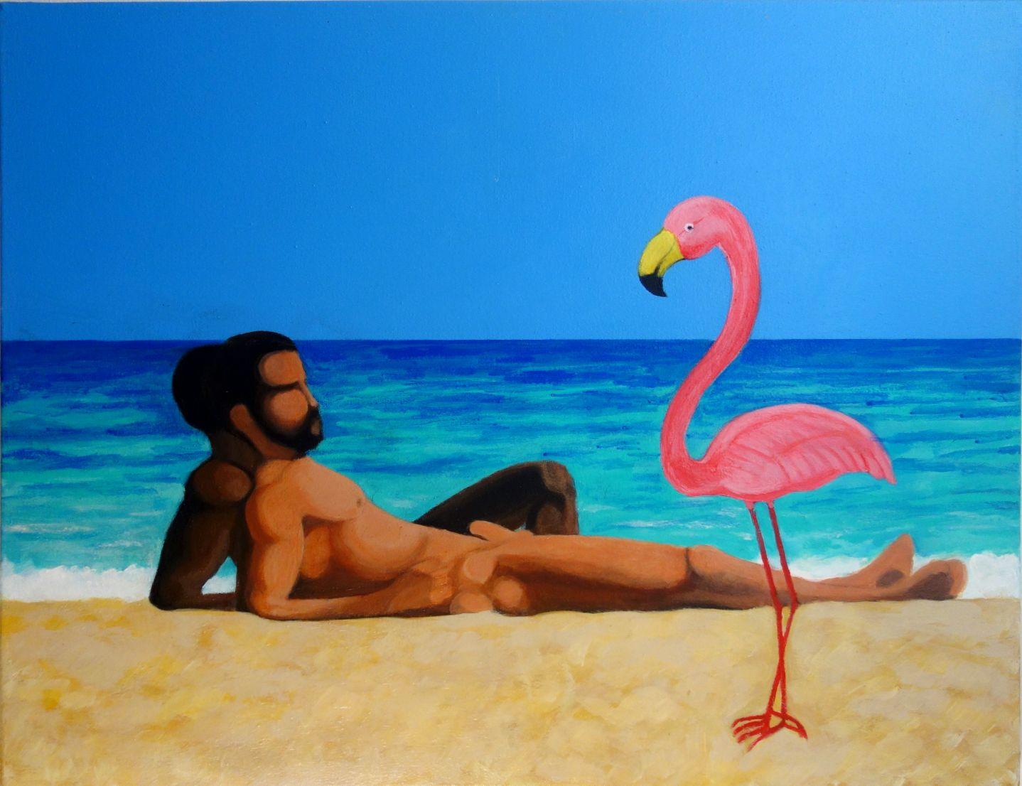 Interracial couple at the beach with a plastic flamingo (2019) - Jose Gomez Navarro