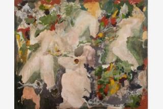 Bacanalia · 2007 polvo de mármol, pigmentos y resina acrílica sobre tela 145 x 180 cm. Cortesía de Marlborough