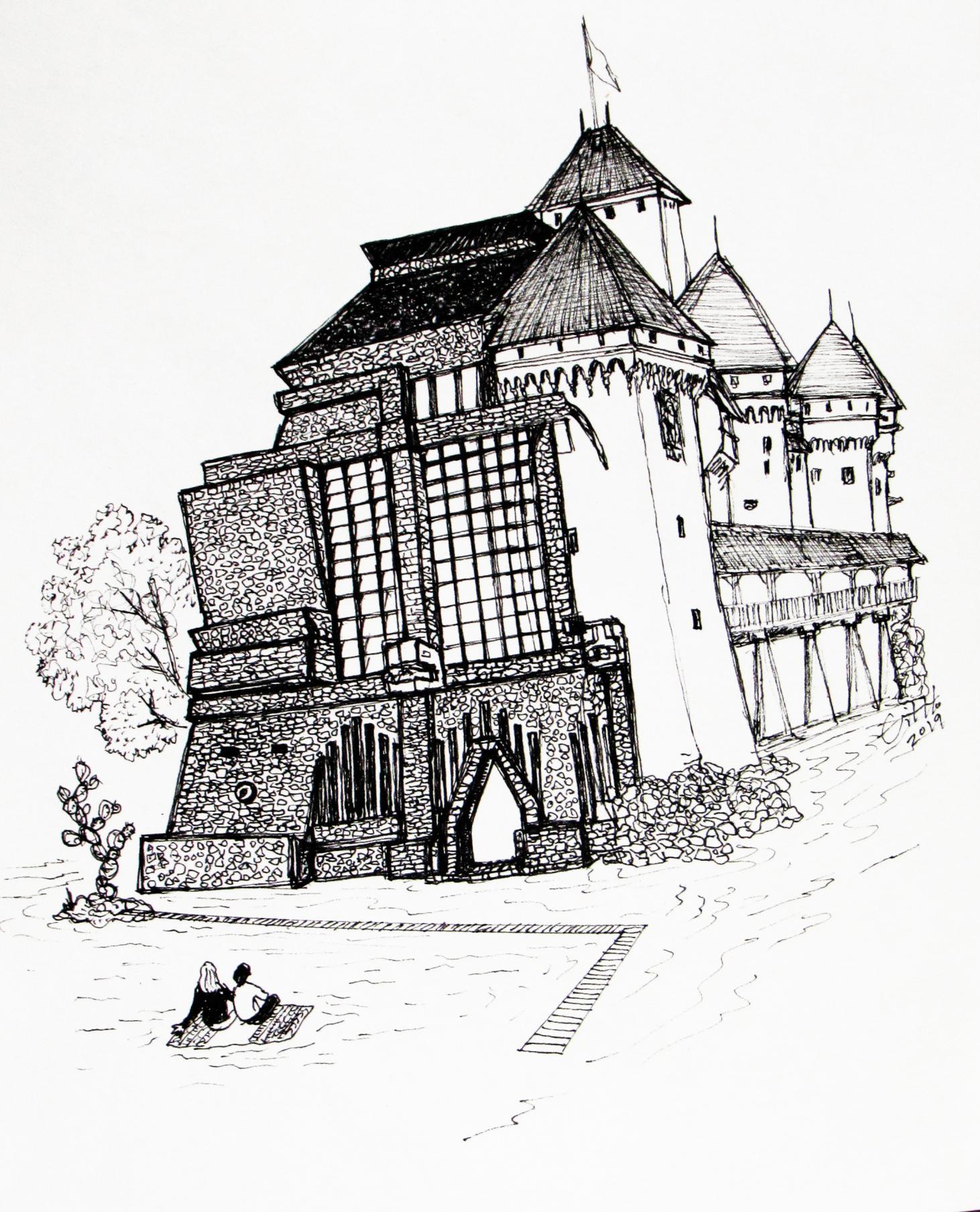 """Montreux-Tlán #1, (Anahuacalli-Castillo de Chillon)"""