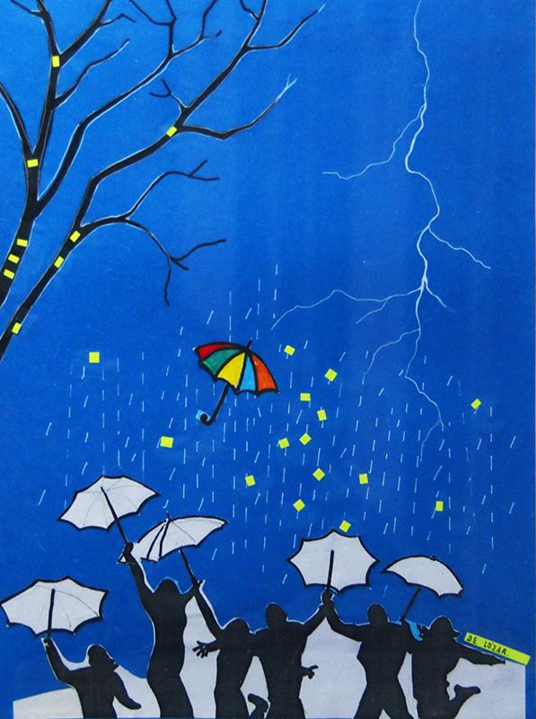 Paraguas en noche de tormenta