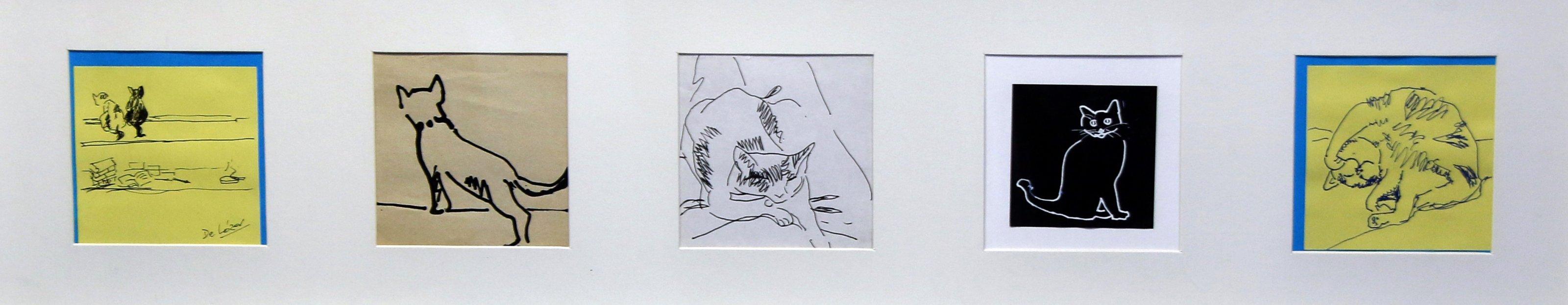 Mis gatos. Cinco dibujos.