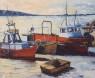 Puerto de Montevideo oleo espatulado sobre lienzo 60 x 70