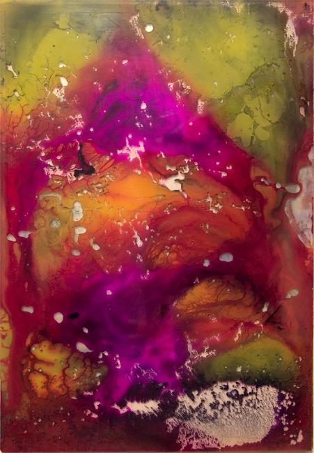 "La montaña mágica (serie ""Universos"", tinta sobre metacrilato, 13x9 cm)"