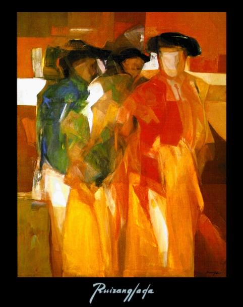 La cuadrilla. 114x116cm óleo sobre lienzo. (1982) - Martín Ruiz Anglada - Ruizanglada
