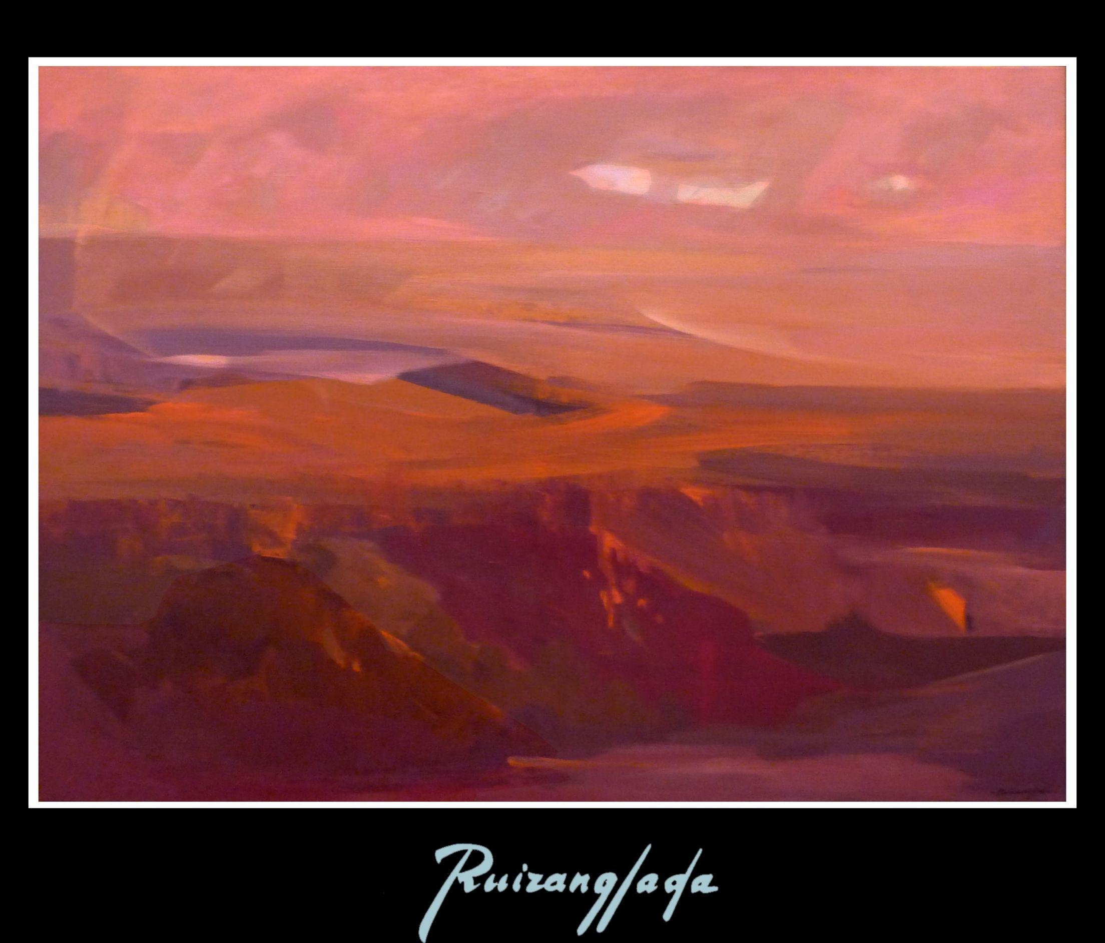 Paisaje al Atardecer. 97x130cm. Acrílico sobre lienzo. (1984) - Martín Ruiz Anglada - Ruizanglada