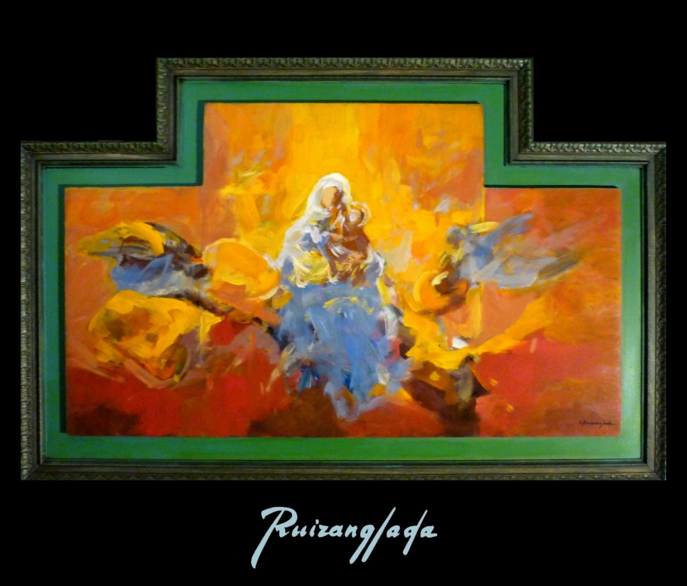 Virgen con Niño, 70x110cm Acrílico sobre tabla. (1995) - Martín Ruiz Anglada - Ruizanglada