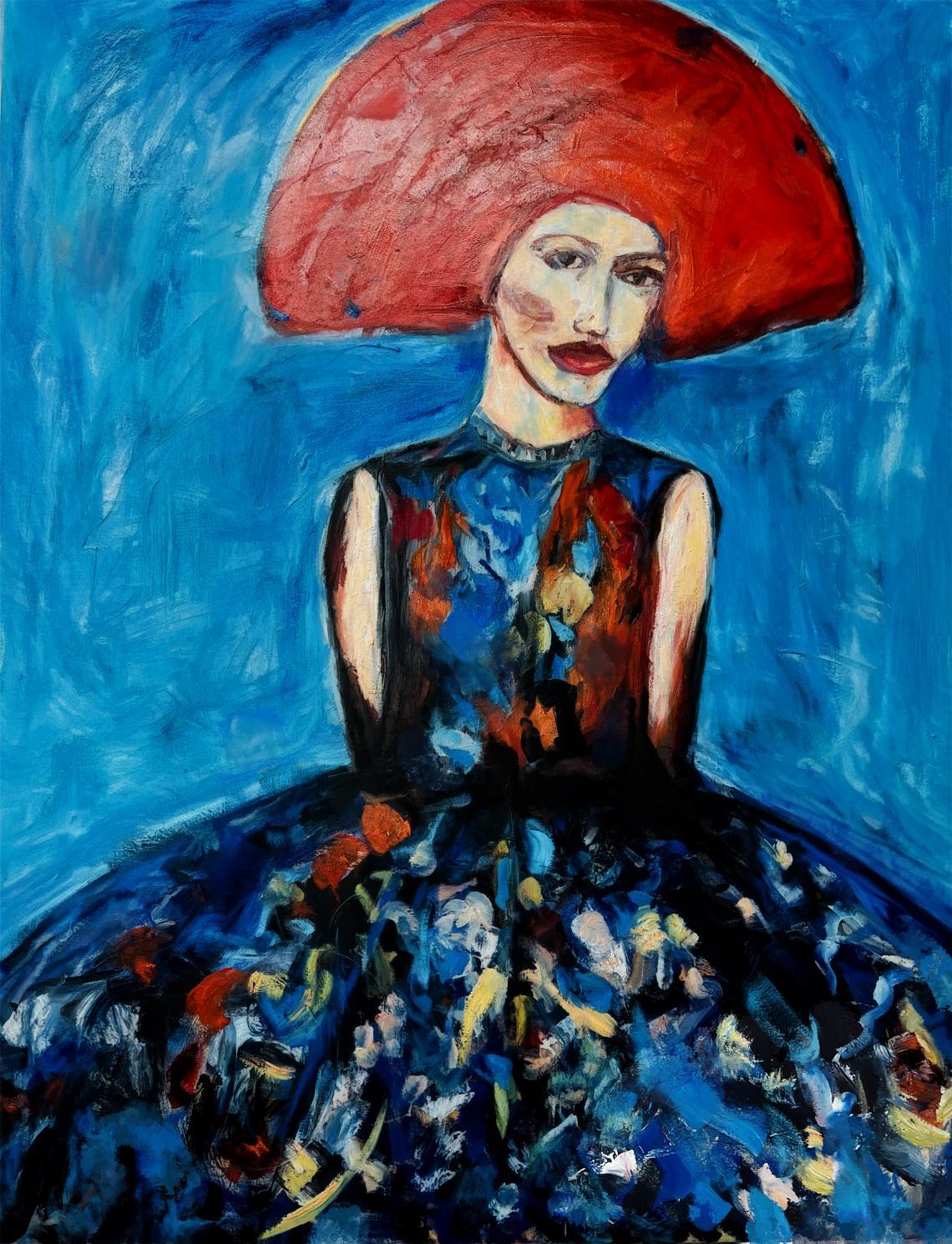 Mujer de tocado rojo (2021) - Soledad Fernandez Fernandez