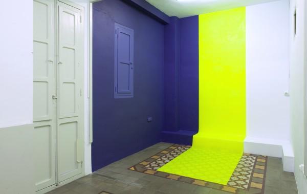 "irenegrau-""2012 / 14"". Pintura acrílica sobre papel poliéster, pintura plástica sobre pared. Valencia, 2014"