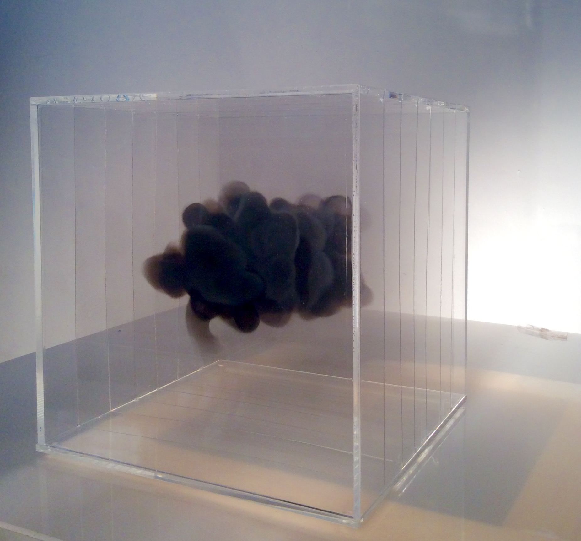 """""""Soot cloud"""" 20x20x20cmr. Soot and acrylic case (2016) - Isabel Alonso Vega"""