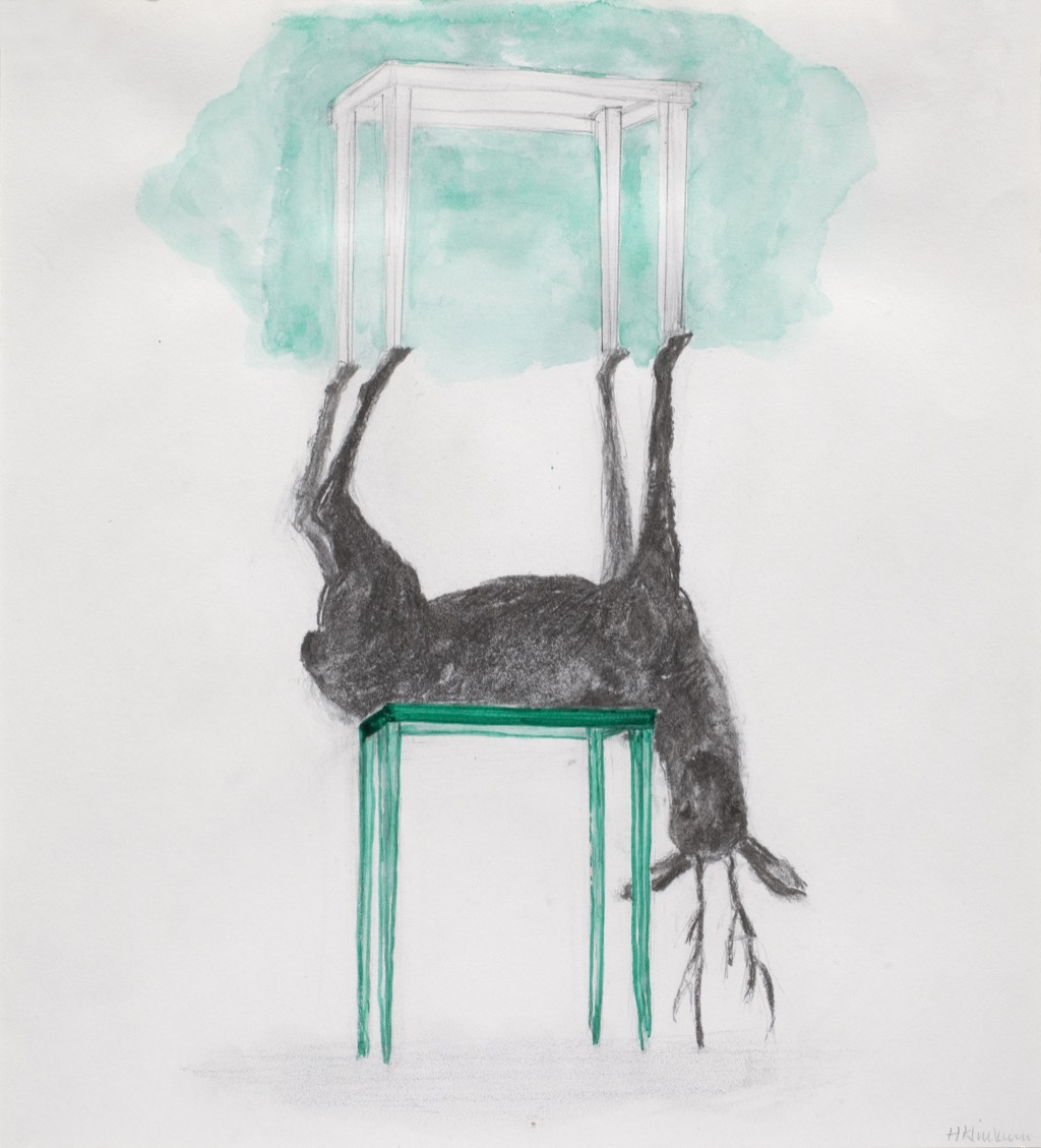 Little Deers with tables,  4 drawings (2013) - Hanneke Klinkum