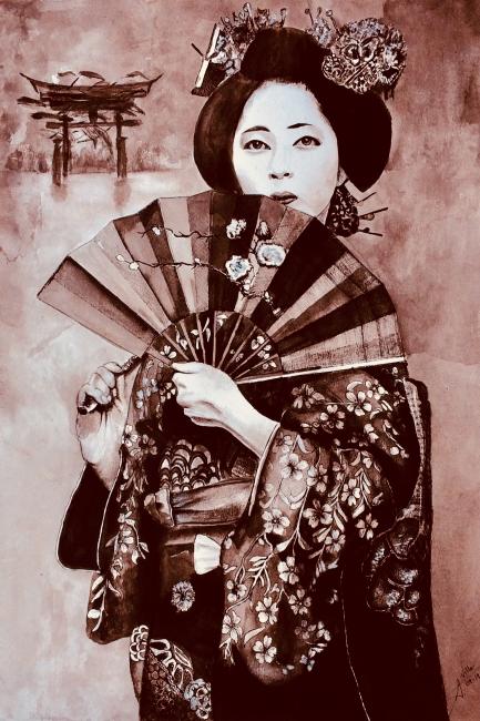 Geisha con abanico