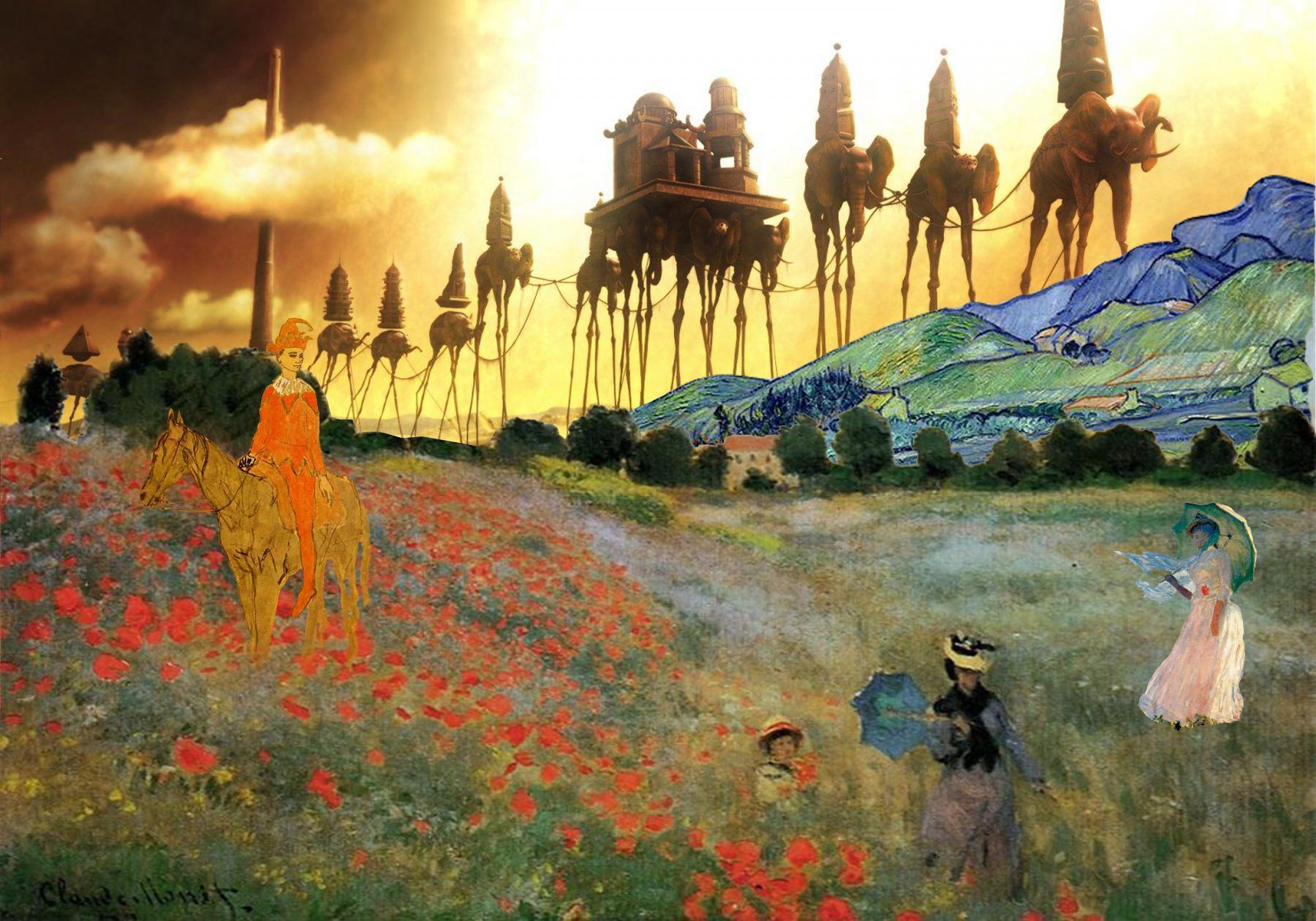 Caravana de elefantes asomando sobre un paisaje montañoso mientras un arlequín a caballo mira a las mujeres con sombrillas sobre un campo de amapolas