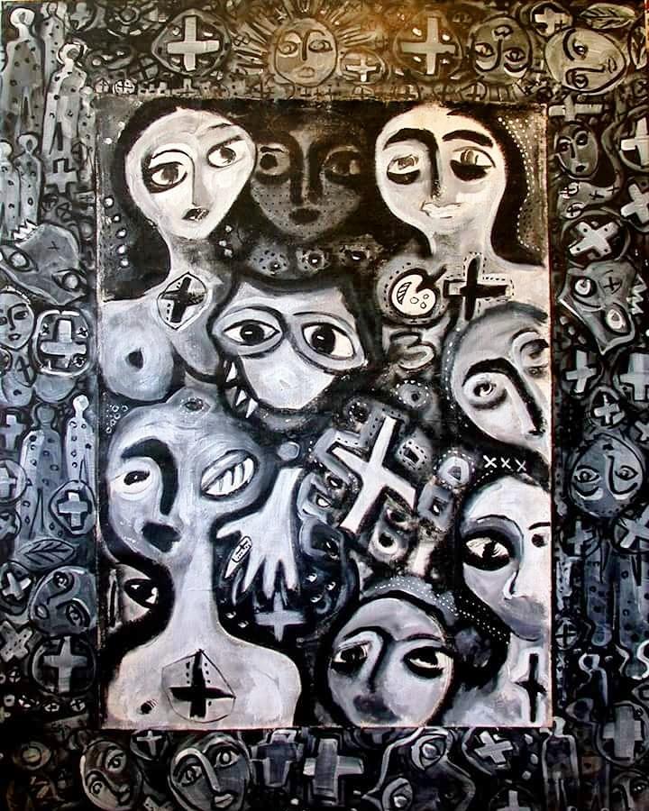 Sin Título (ref. perro, mano, cruz) (Serie Negra) (2000) - María Eugenia Catoni