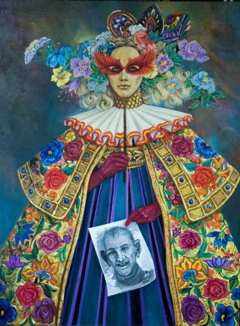 La Máscara Veneciana. Oleo sobre Lienzo 122 x 94 cms
