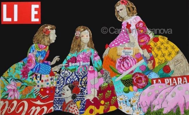 LIE, collage y acrílico sobre lienzo, 100x162 cm