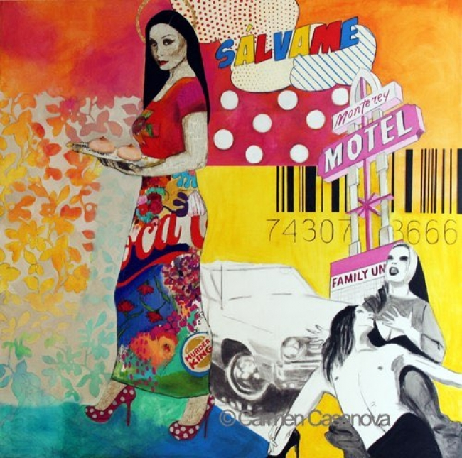 SANTA ÁGUEDA, SÁLVAME, collage y acrílico sobre lienzo, 200x200 cm